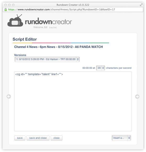 Character Generator Controller | Rundown Creator | web-based TV ...