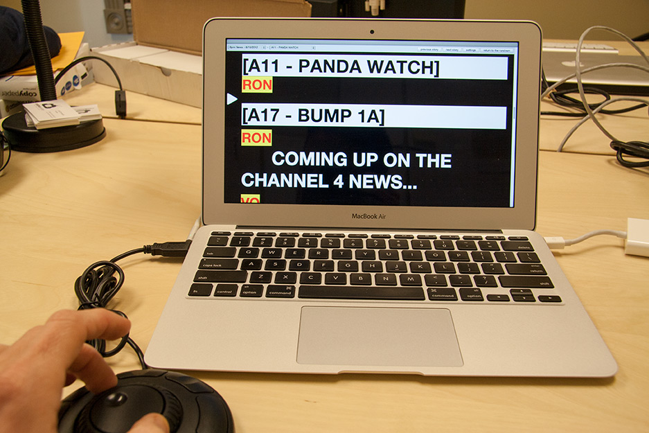 Rundown Creator's web-based teleprompter running on a MacBook Air with a Contour Design ShuttleXpress