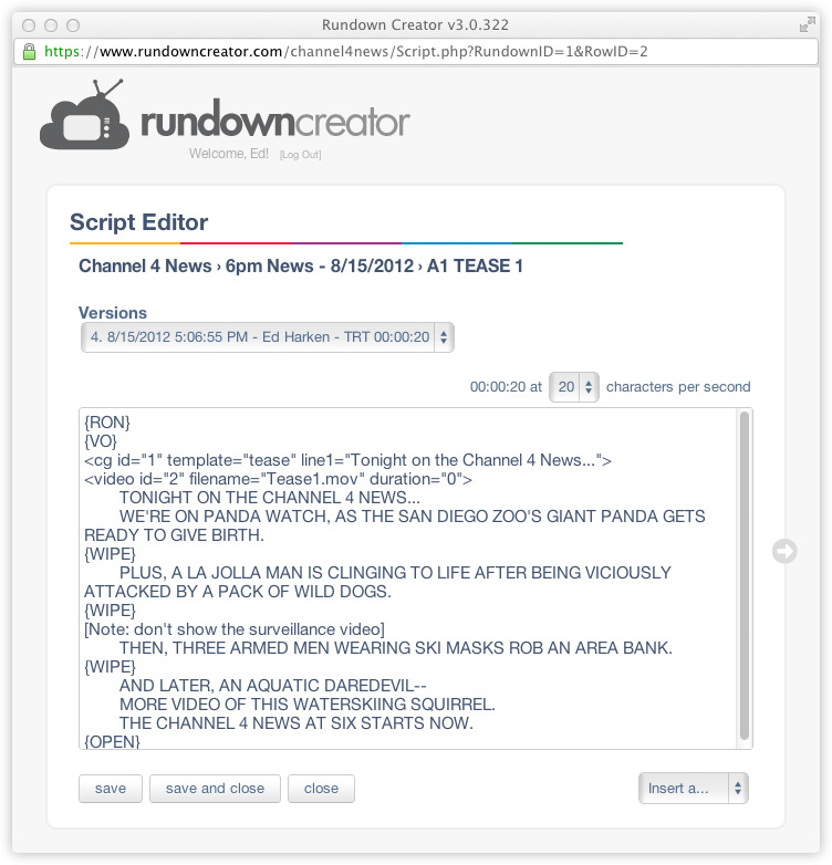 Script Formatting | Rundown Creator | web-based TV/radio rundown ...