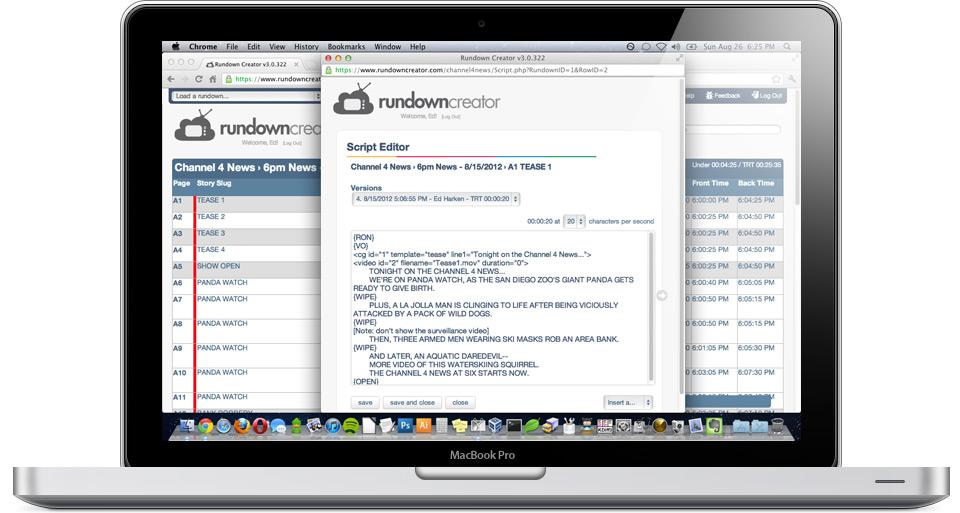 rundown creator web based tv radio rundown software
